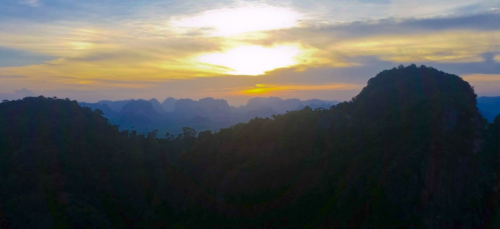 Sunset view from the Tiger Cave Temple