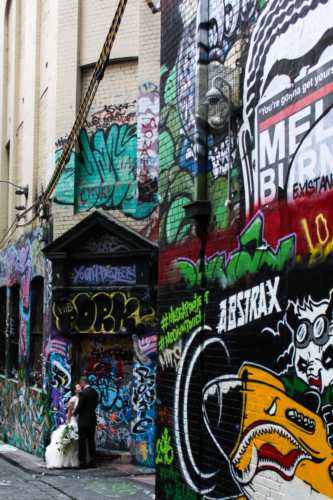 Newlyweds at Hosier Lane
