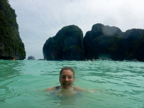 Trying to get a picture alone at Maya Bay