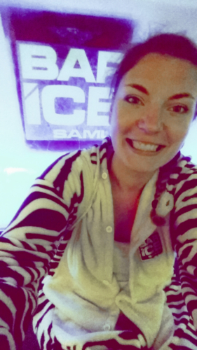 Me in the onesie at the Ice bar in Koh Samui